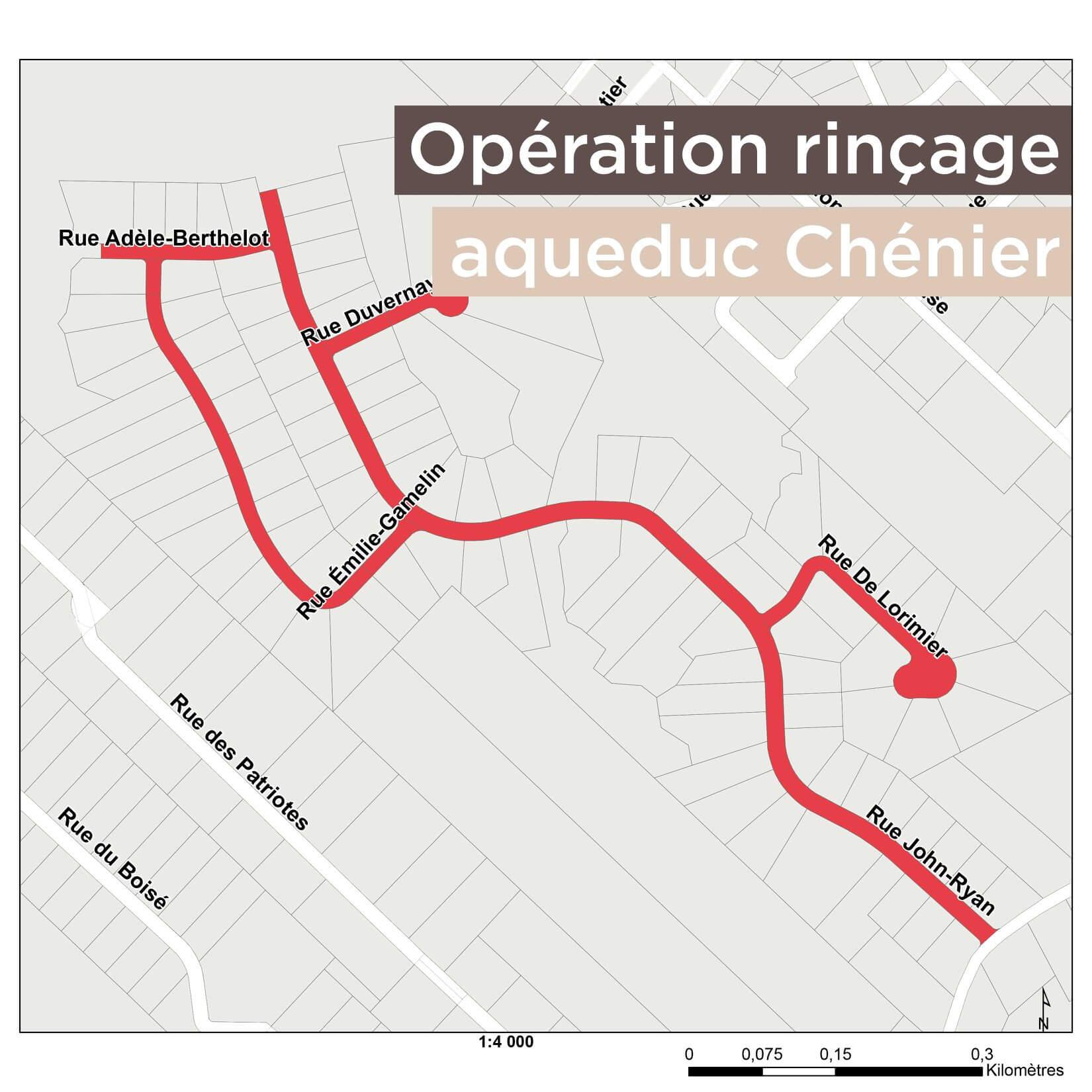 Opération rinçage de l'aqueduc Chénier – 16 septembre 2021